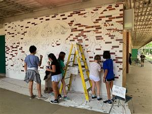 Students working on Diversity Mural - Estes Hills