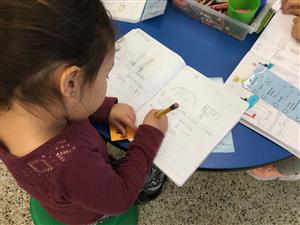 Mandarin Dual Language student working on a writing assignment