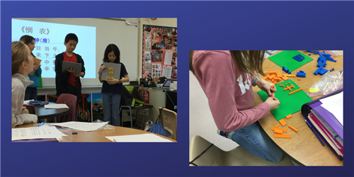 Children presenting in a classroom and student working with legos