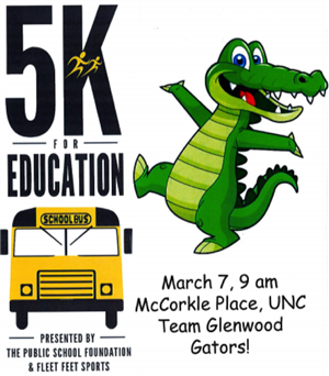 5K for Education March 7th 9am @ McCorkle Place, UNC