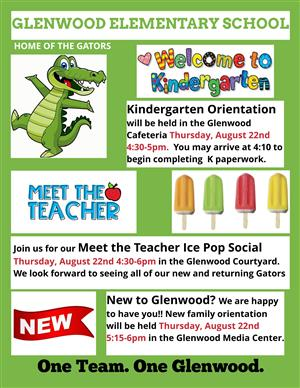 Kindergarten Orientation & Meet the Teacher Thursday August 22nd 4:30-6pm at Glenwood
