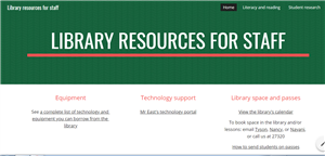 Library resources for staff website