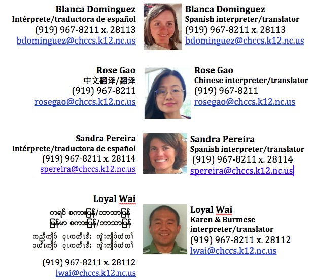 Spanish, Chinese and Karen/ Burmese interpreters
