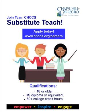 CHCCS Needs Substitute Teachers!
