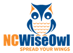 NCWiseOwl icon with spread your wings tag line