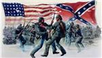 Civil war graphic featuring american and confederate flags with soldiers fighting