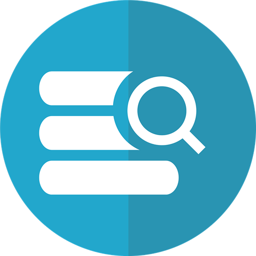 Blue and White Database search icon depicting magnifying glass with white stack of books