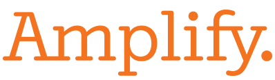 Orange text reading Amplify.