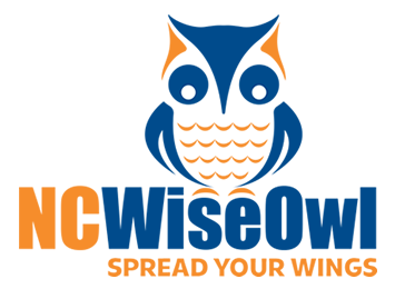 blue and orange logo featuring the words ncwiseowl spread your wings, as well as an owl