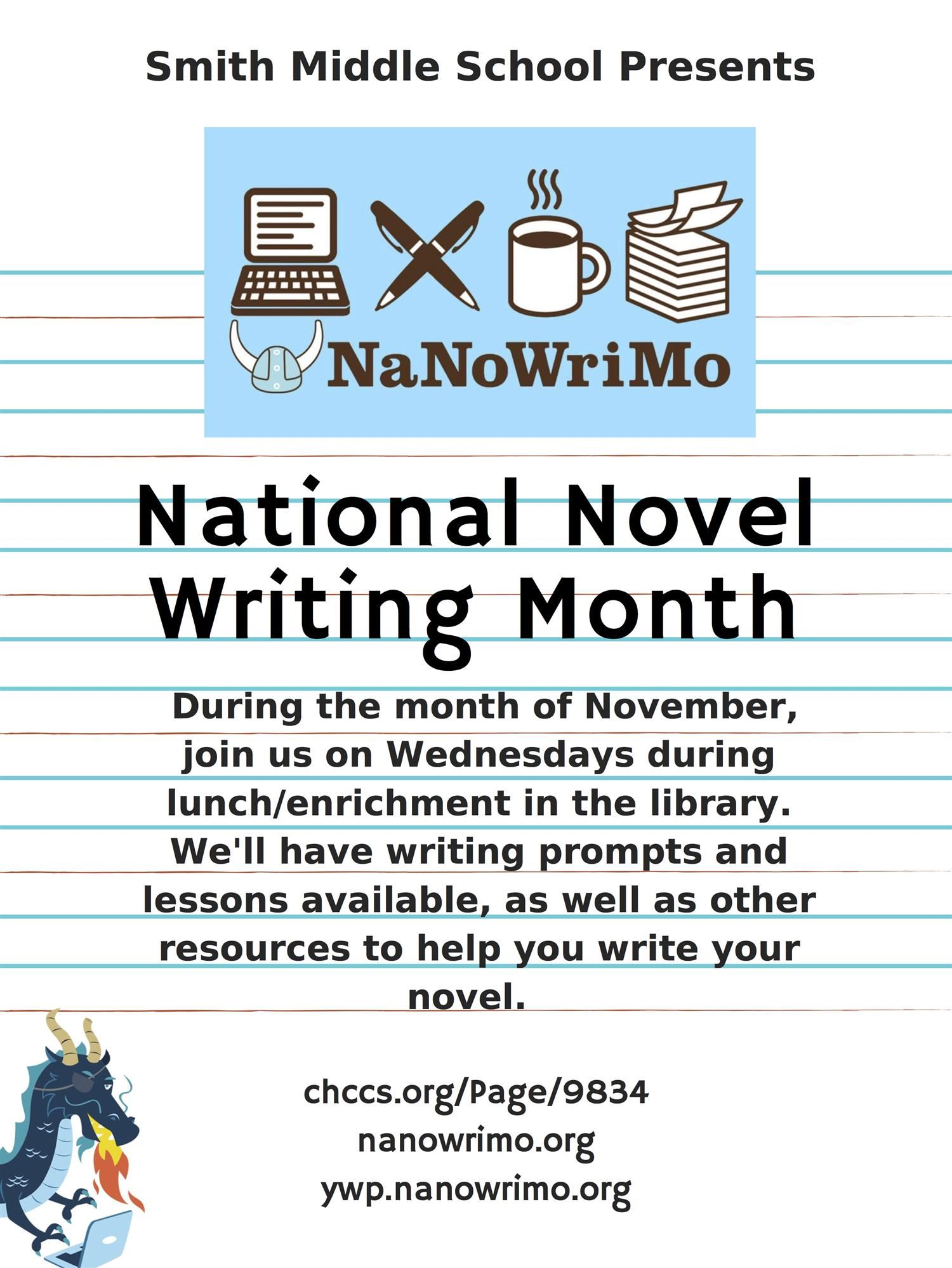 NaNoWrimo Poster highlighting library programming