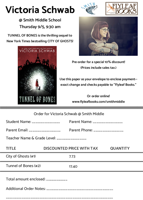Flyer for the Victoria Schwab event at Smith, including an order form for her books and images of the author & book cover.