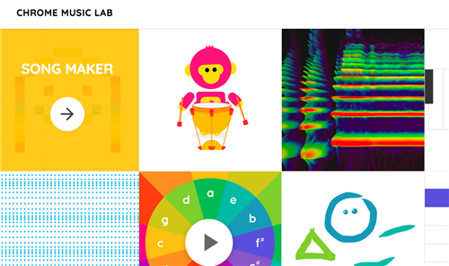 A collection of images related to Chrome music lab, highlighting some of the applications