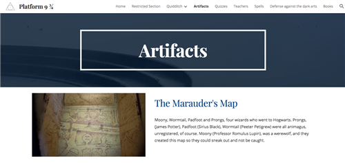 Harry Potter website create by a student, featuring a blue banner with the word Artifacts in white. A labeled image of a map