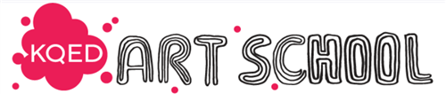 KQED Art School logo, featuring a pink splatter and the words art school in bubble letters