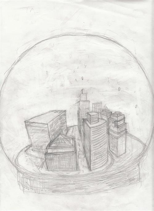 Pencil drawing of a city encased in a snow globe.