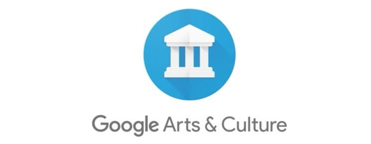 Blue logo with white Greek structure. The words google arts and culture rest below