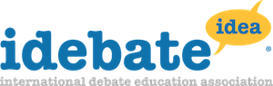 The logo for iDebate. Blue text read iDebate and idea, the latter of which is featured within a yellow speech bubble.