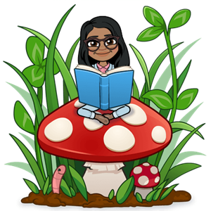 Mrs. Bell reading on a mushroom