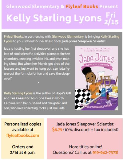 Flyer about Kelly Starling Lyons event on 2/15/18