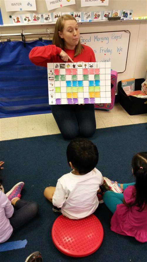 Pre-K Teacher charting with children