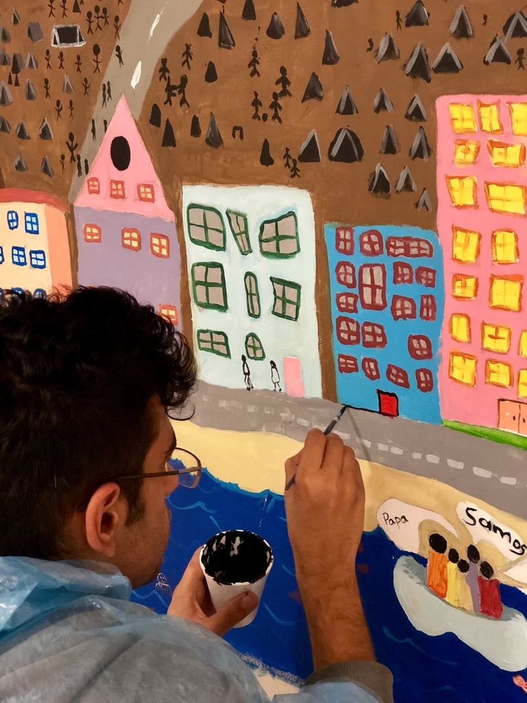 Greek student paints Cornette mural