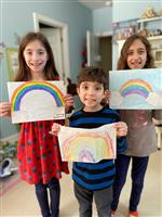 siblings and rainbow art