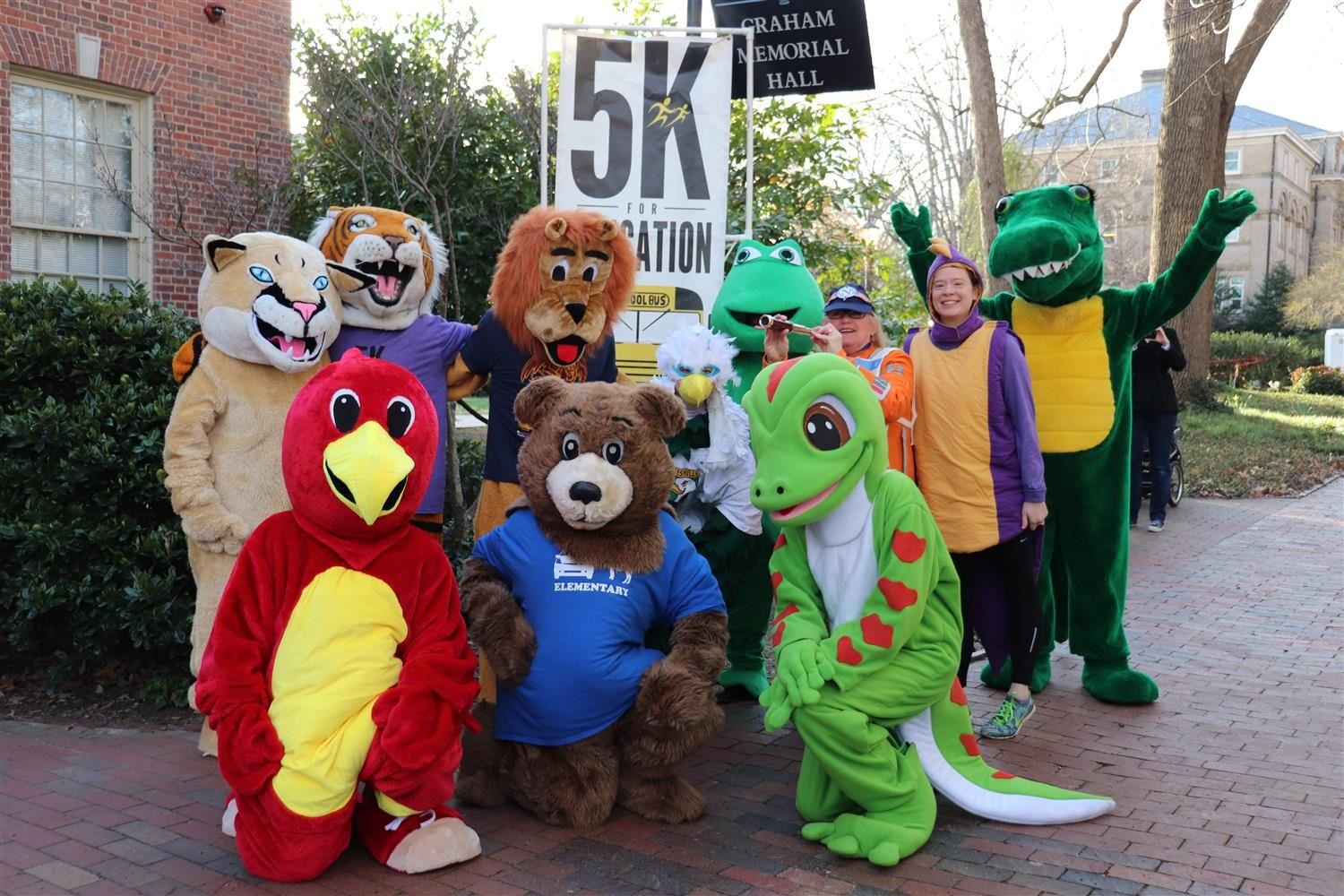 5K mascots on campus