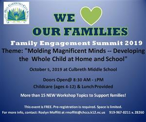 Registration Required for Family Education Summit at 919-967-8211 extension 28260